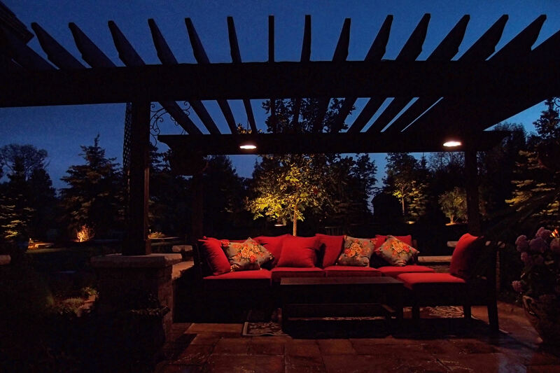 back patio with couches in the evening