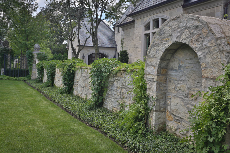 stone wall with ivy on it