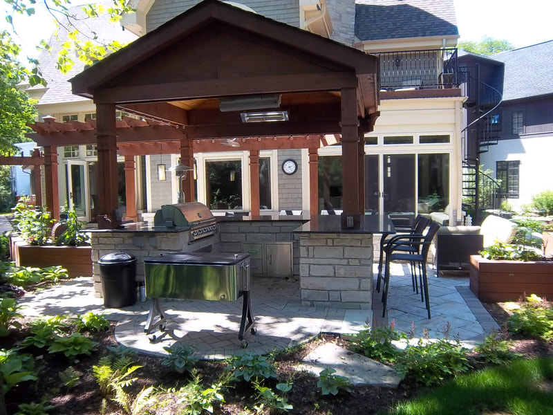back yard with covered barbecue pit